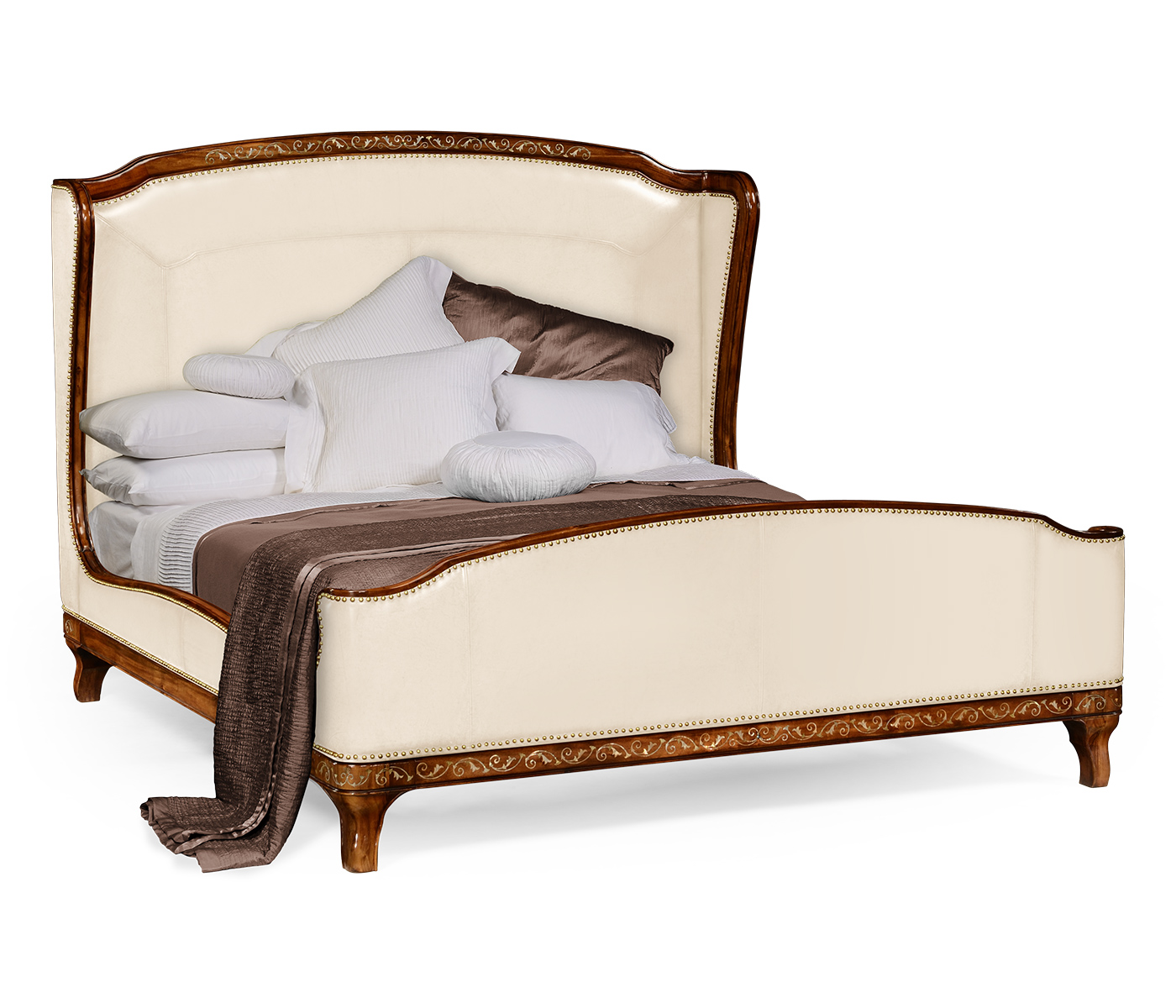 Burl And Mother Of Pearl Inlaid Louis Xv Style Cream Leather Bed Us