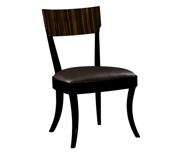 Art Deco Macassar Ebony High Lustre Dining Side Chair, Upholstered in Dark Chocolate Leather