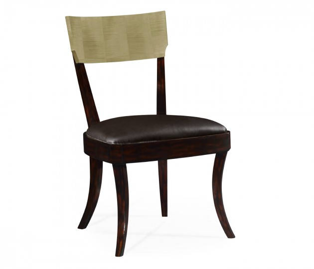 Art Deco Champagne Dining Side Chair, Upholstered in Dark Chocolate Leather