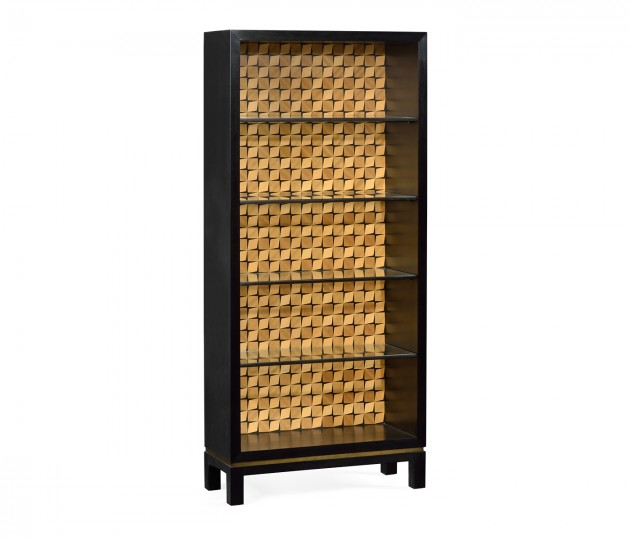 Black Bookcase with Interior Geometric Pattern