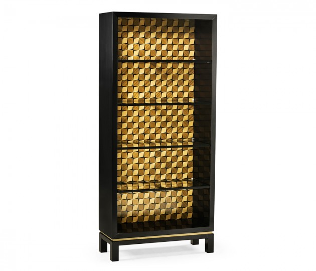 Black Bookcase with Interior Geometric Pattern