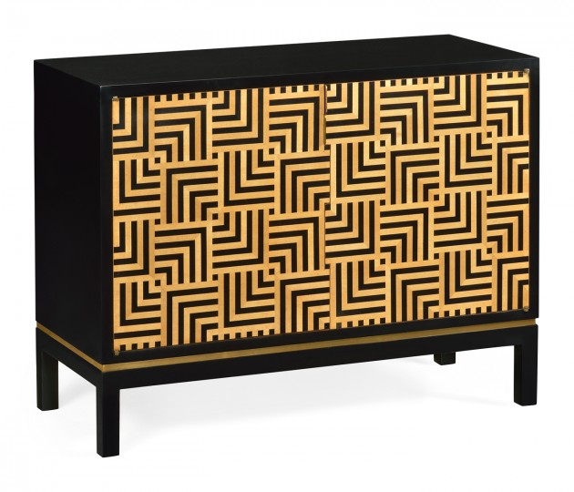 Black Storage Cabinet with Patterned Front