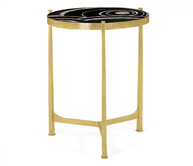 Medium Solid Brass & Eggshell & Laquer Top Round Lamp Table
