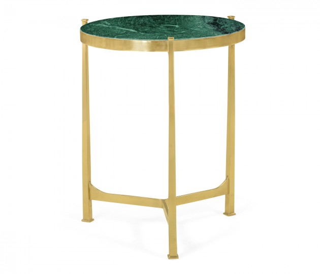 Medium Solid Brass & Green Napoly Marble Top Round Lamp Table