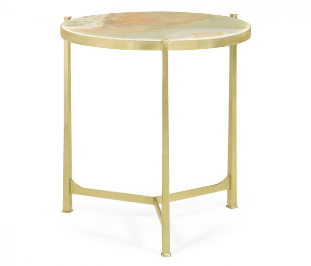 Large Solid Brass & Green Onyx Top Round Lamp Table