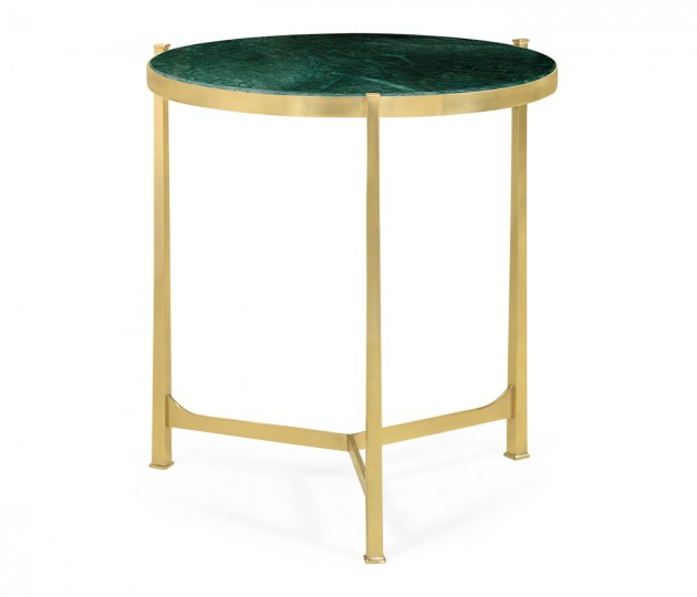 Large Solid Brass & Green Napoly Marble Top Round Lamp Table