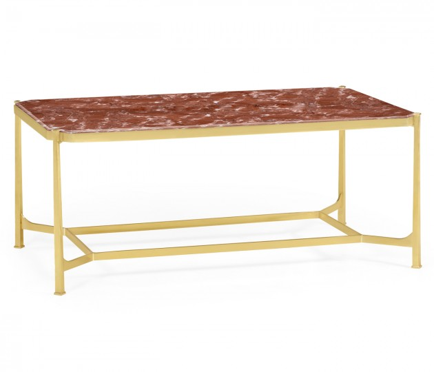 Rectangular Solid Brass & Red Brazil Marble Top Coffee Table