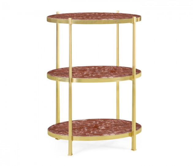 Large Solid Brass & Red Brazil Marble Three-Tier End Table
