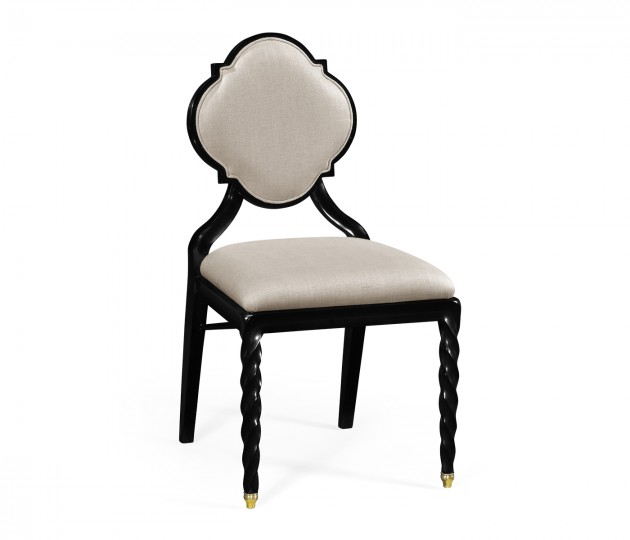 Black Barleytwist Dining Side Chair, Upholstered in MAZO