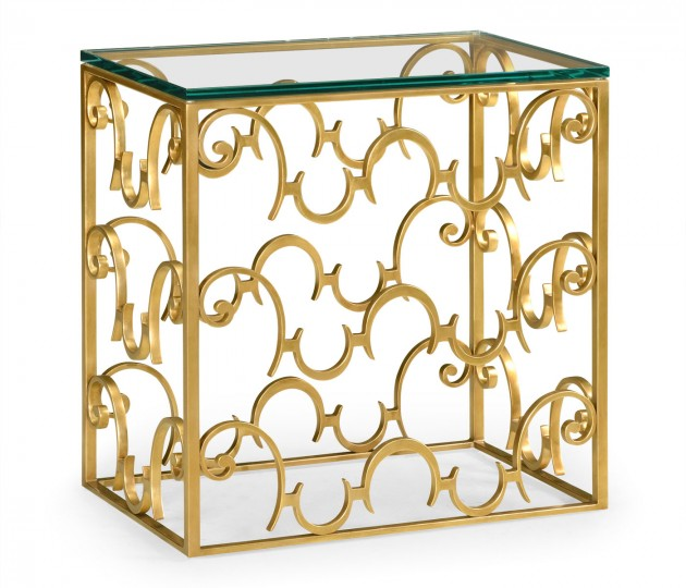 Rectangular Arabesque Gilded Iron End Table with 20mm Clear Glass Top