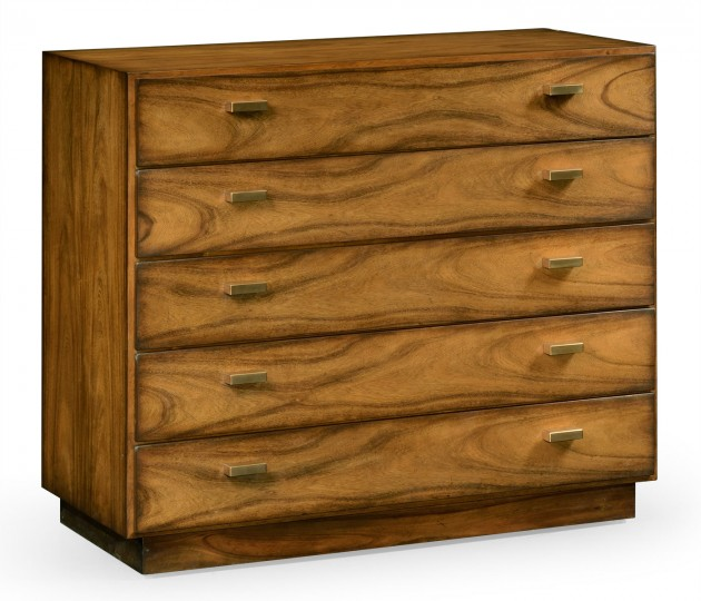 Rectangular Medium Brown Elm Chest of Five Drawers