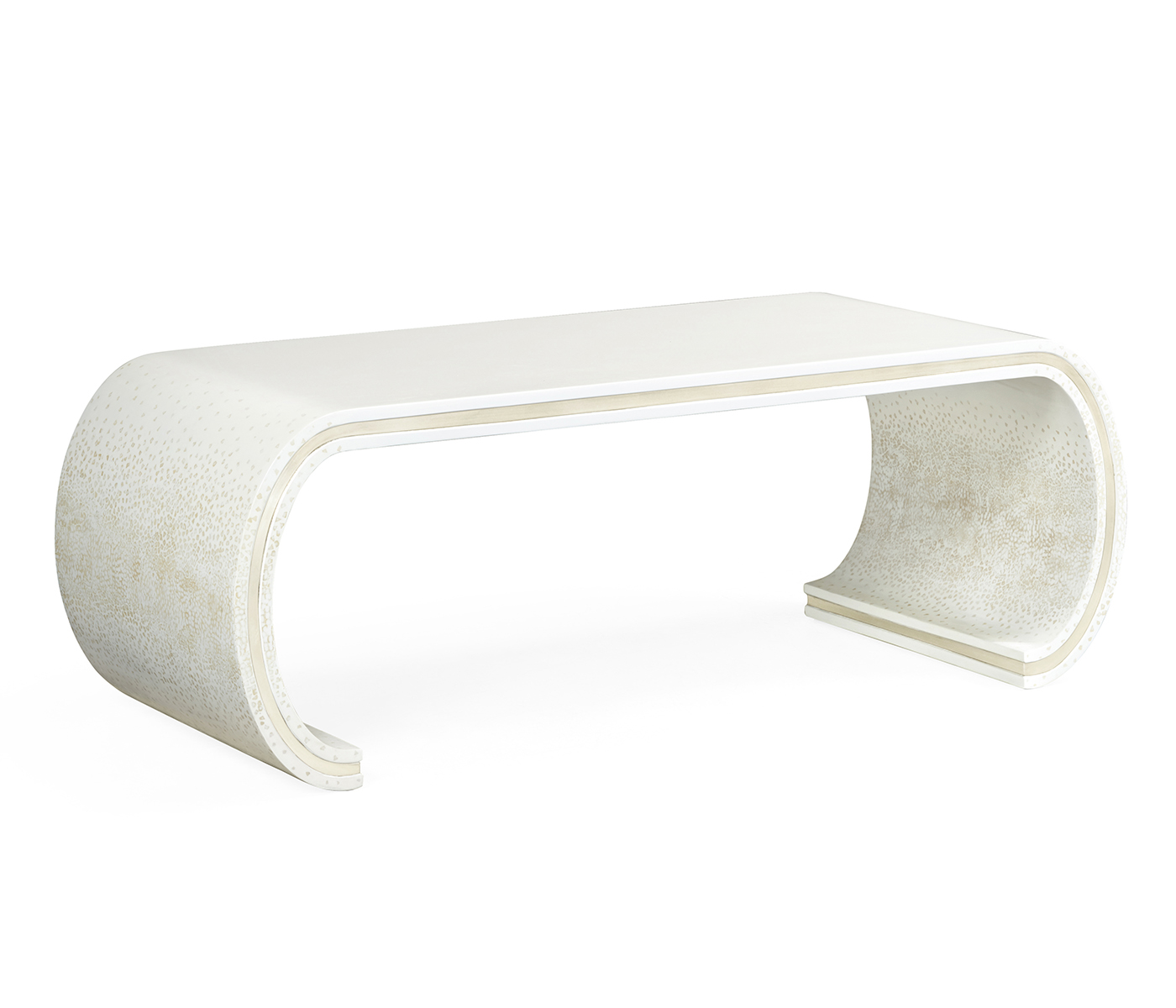 Curved Edge Glass Coffee Table: Curved Edges Ivory Eggshell Coffee Table