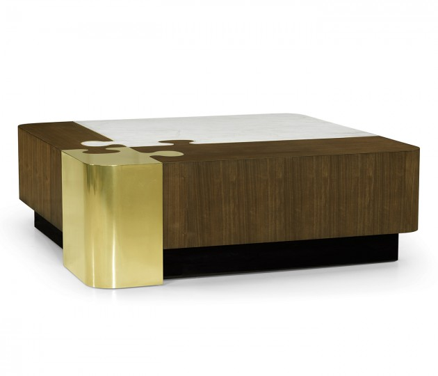 Rounded Square Autumn Walnut, Brass & Marble Puzzle Coffee Table