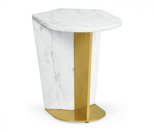 Small White Calcutta Marble & Brass End Table