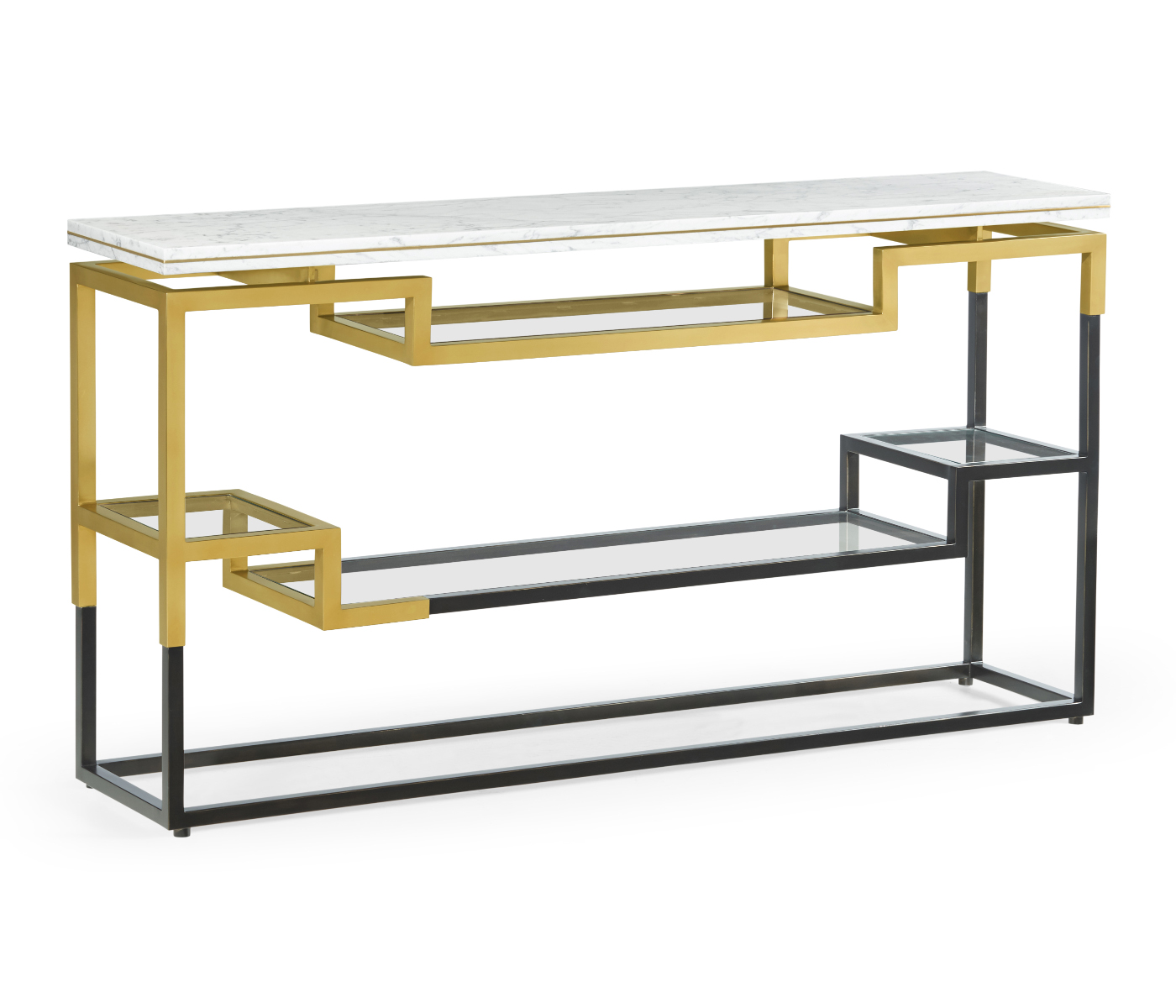 Narrow Rectangular Brass And Marble Coffee Table By Edward: Thin Rectangular Multi-Tier Antique Bronze & Brass Console