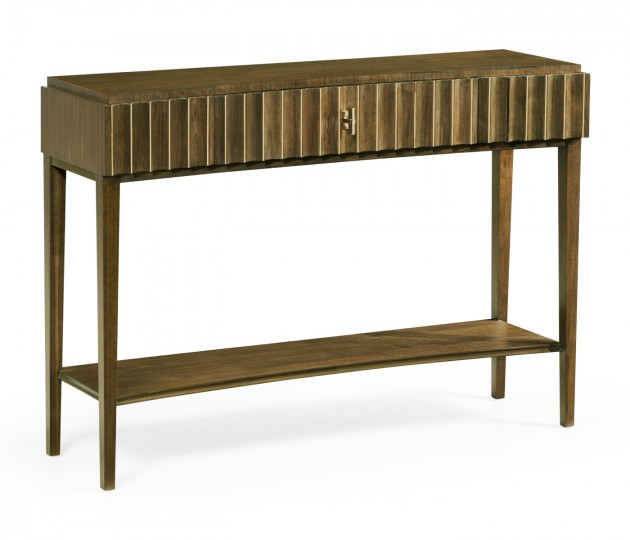 Bowed Autumn Walnut Reeded Console Table