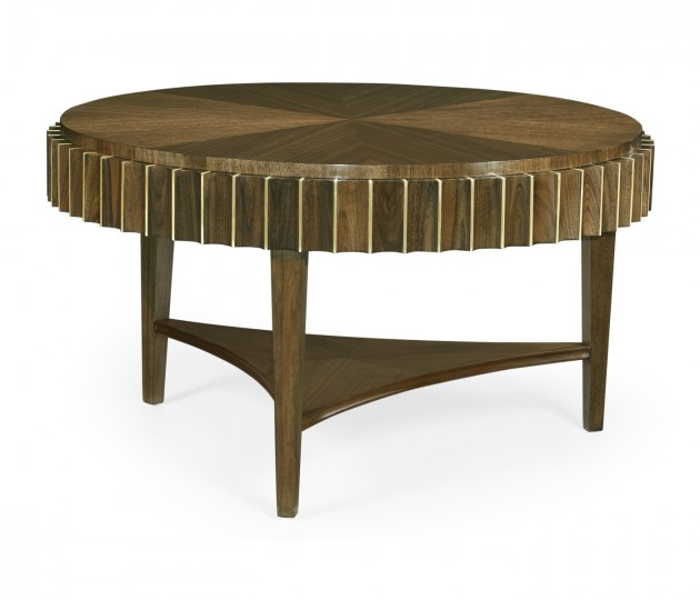 Round Autumn Walnut Reeded Coffee Table