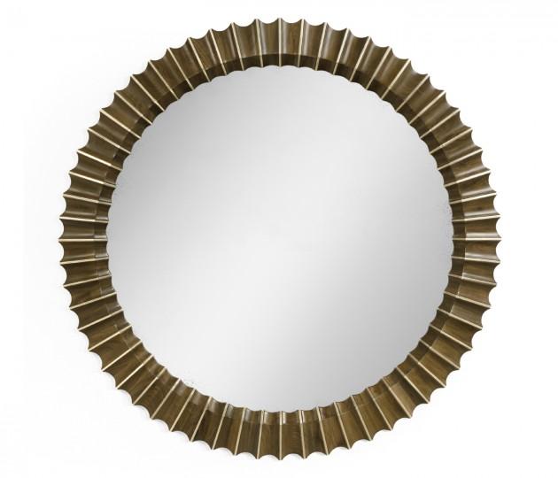 Round Autumn Walnut Reeded Hanging Mirror with Antique Glass