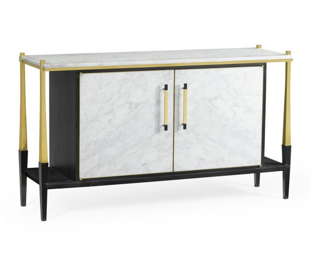 Ebonised Oak & Brass Sideboard with White Calcutta Marble Top