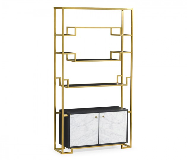 Contemporary Antique Satin Gold Brass & Ebonised Oak Étagère with Bottom Marble Cabinet
