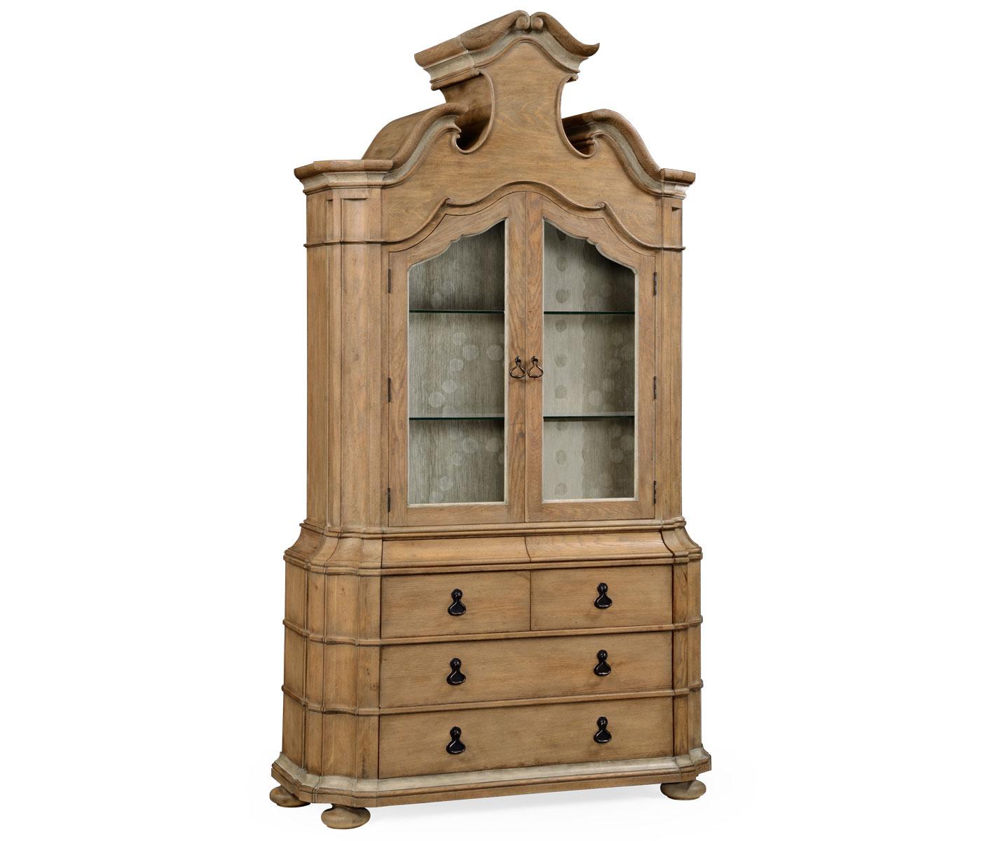 Oulton Vintage Oak Cabinet For Glass Doors Glass Shelves