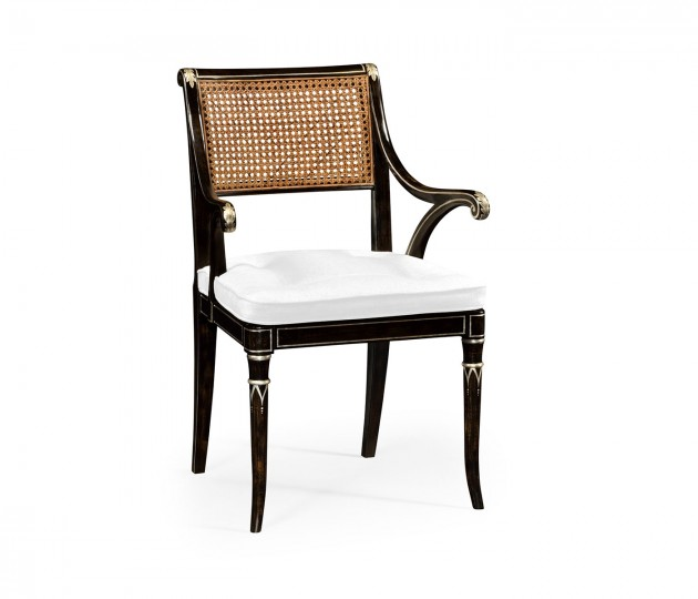 Linden Charcoal Wash Dining Arm Chair, Upholstered in COM