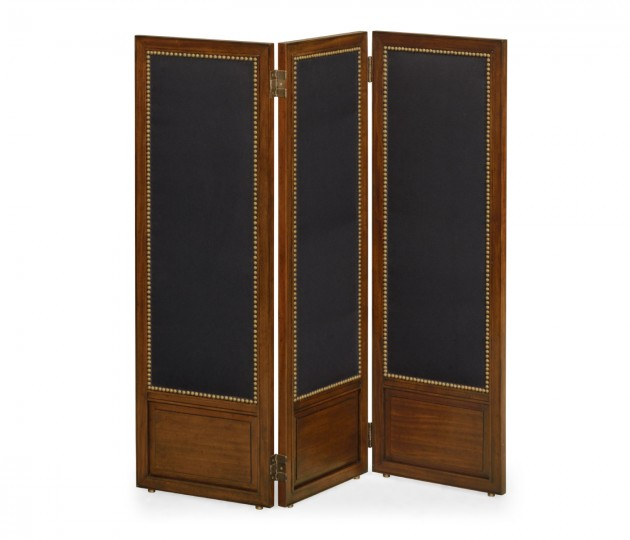 Medium Mahogany & Black Linen Folding Screen