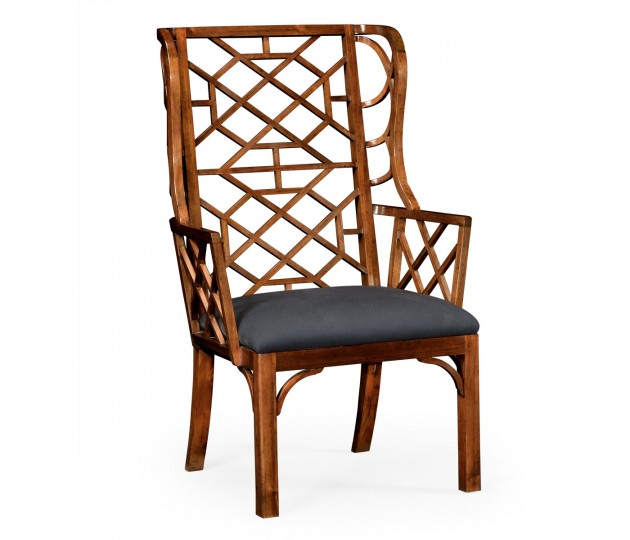 Imperial Mahogany Lattice Back Wing Chair, Upholstered in COM