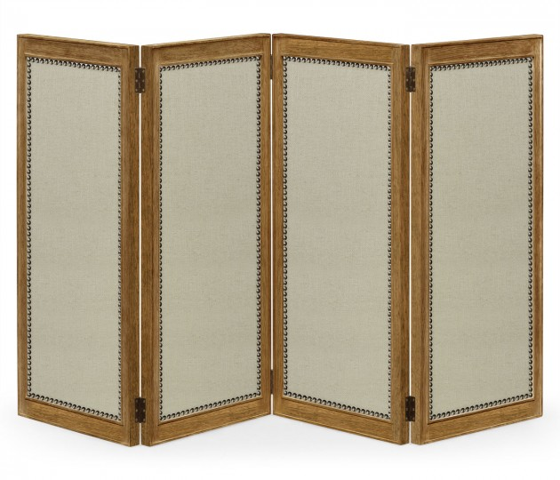 Brushed Medium Brown Oak Screen. Upholstered in MAZO