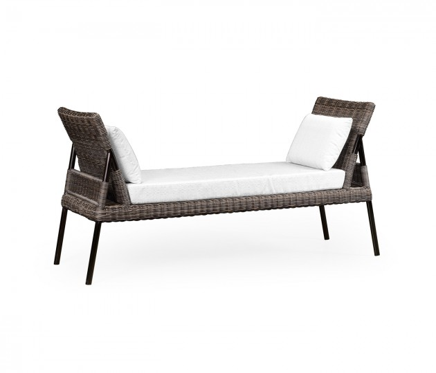 Rattan Latt Bench with Cushion & Pillows, Upholstered in COM