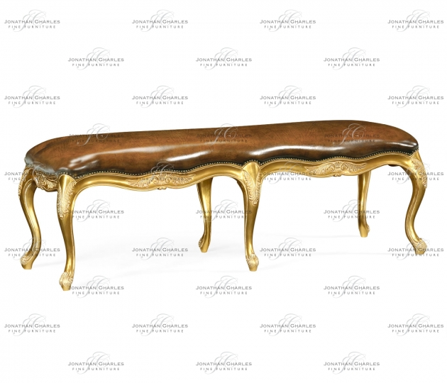 small rushmore French Provincial Walnut Bench Leather