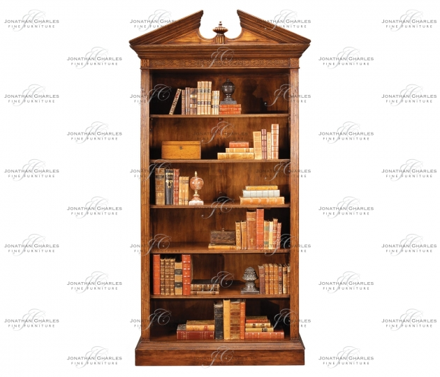small rushmore Walnut Open Bookcase with Pediment