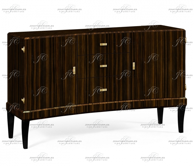 small rushmore Rectangular Curved Art Deco Macassar Ebony High Lustre Sideboard
