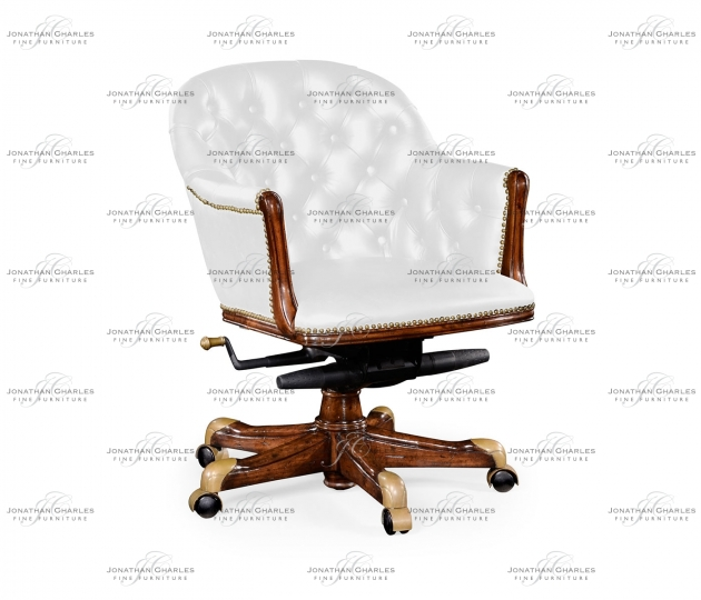 small rushmore Chesterfield Style Walnut Office Chair, Upholstered in COM