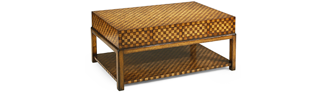 The Checkerboard Coffee Table Features A Checkerboard Veneer All Over,  Including The Shelf Below. Equipped With The Eight Hidden Drawers On Either  Ends, ...