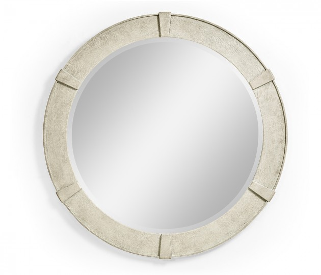 White Wash Driftwood Round Mirror