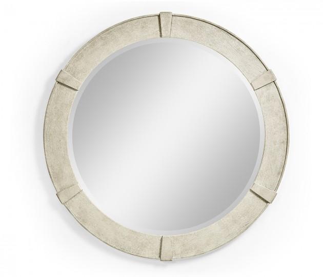 Whitewash Driftwood Round Mirror