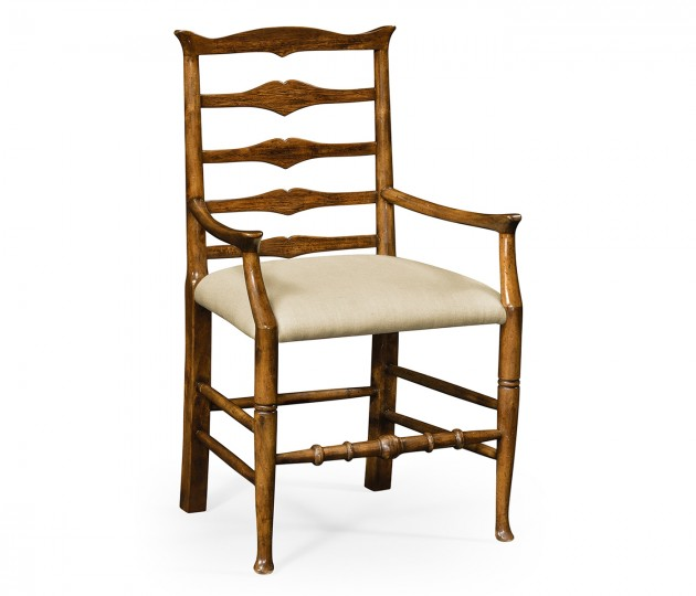 Country Walnut Ladder Back Armchair, Upholstered in MAZO