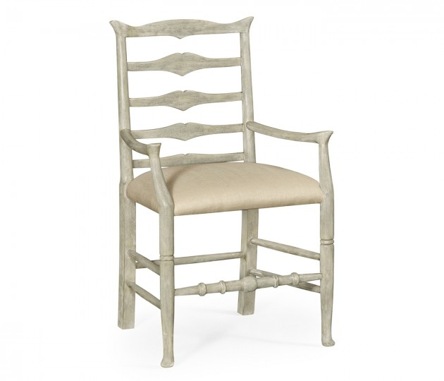 Rustic Grey Ladder Back Armchair, Upholstered in MAZO