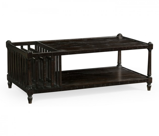 Dark Ale Rectangular Coffee Table with Magazine Rack