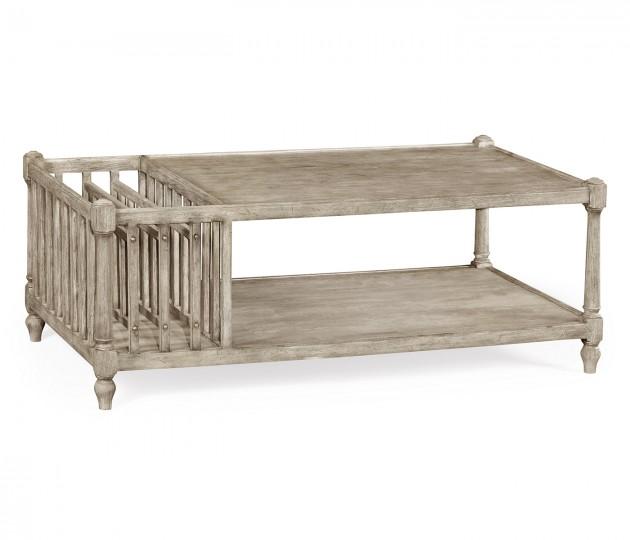 Rustic Grey Rectangular Coffee Table with Magazine Rack