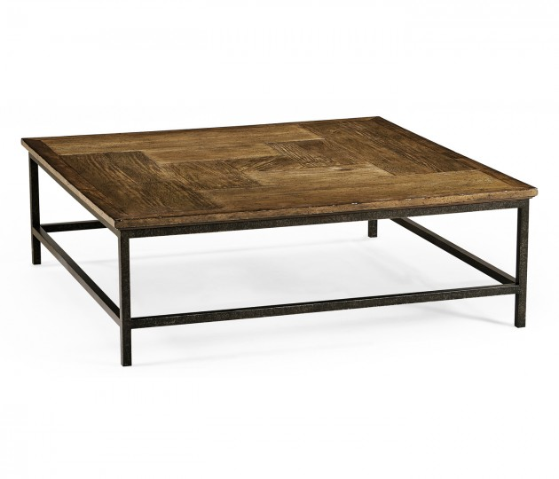 Medium Driftwood Square Coffee Table with Iron Base
