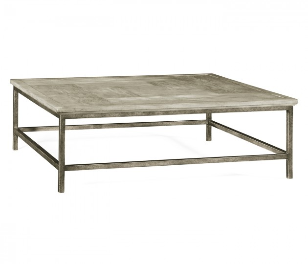 Rustic Grey Square Coffee Table with Grey Silver Base