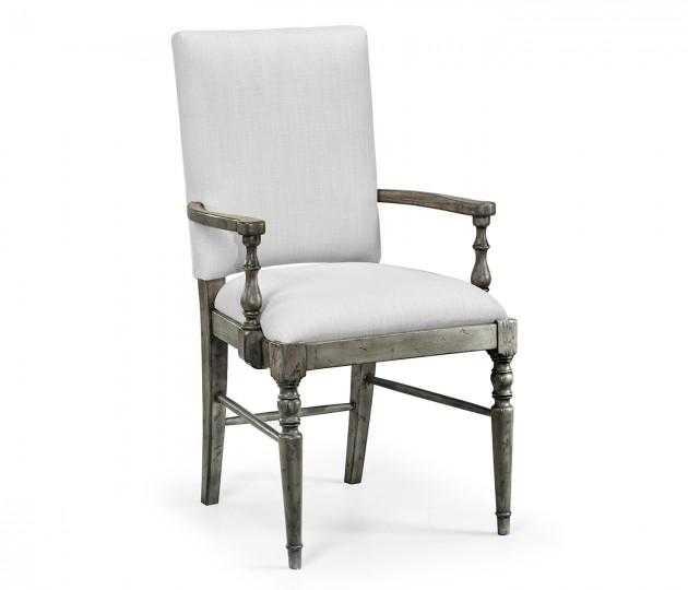 Antique Dark Grey Arm Chair, Upholstered in COM