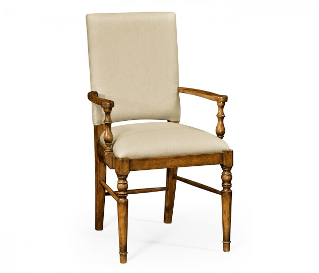 Country Walnut Arm Chair, Upholstered in MAZO