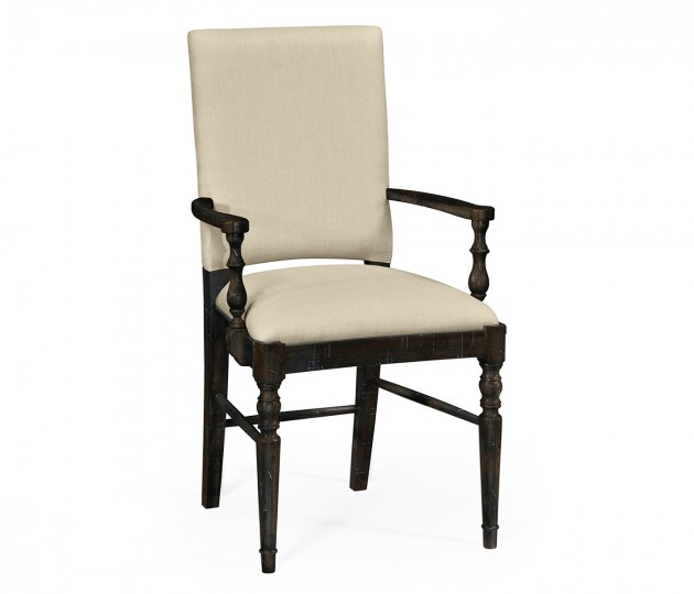 Dark Ale Dining Arm Chair, Upholstered in MAZO