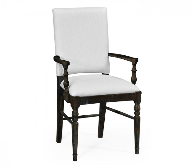 Dark Ale Dining Arm Chair, Upholstered in COM