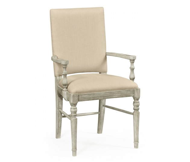 Rustic Grey Arm Chair, Upholstered in MAZO