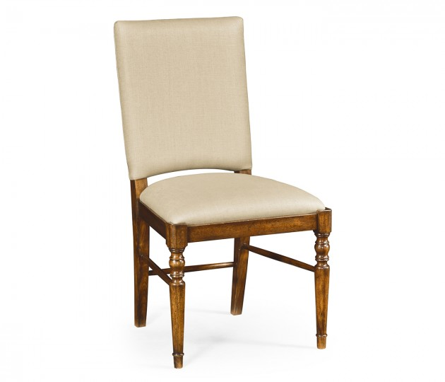 Country Walnut Side Chair, Upholstered in MAZO