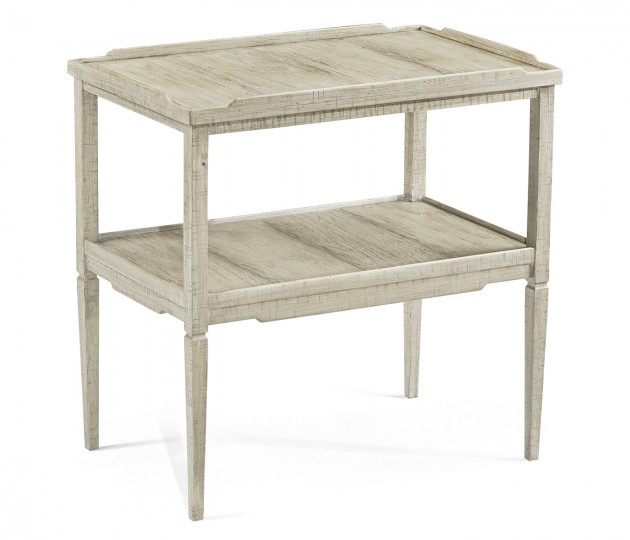 Rectangular Whitewash Driftwood  Side Table with Rails & Undertier